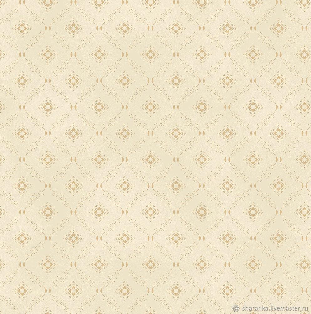 Cotton Rhombuses on a sand background. W.135, Fabric, Ivanovo,  Фото №1
