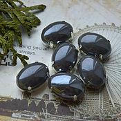 Материалы для творчества handmade. Livemaster - original item Graphite crystals mother of pearl 13h18 mm oval. Handmade.