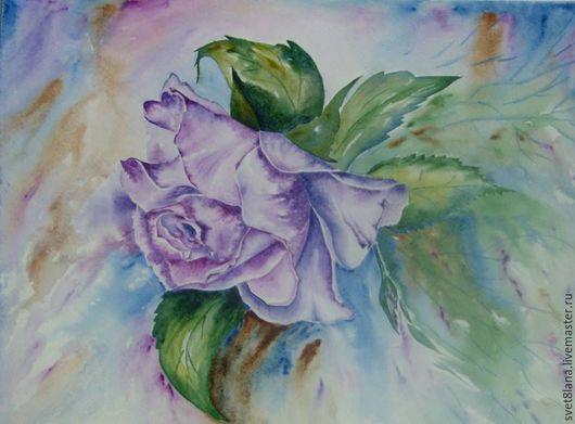 """Картины цветов ручной работы. Ярмарка Мастеров - ручная работа. Купить Роза """"Пароль"""" сиреневая. Handmade. Комбинированный, фиолетовый, цветок"""
