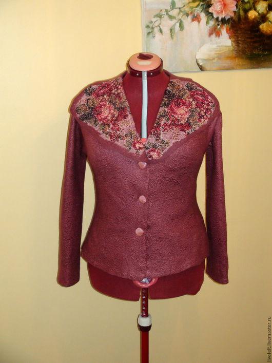 """Пиджаки, жакеты ручной работы. Ярмарка Мастеров - ручная работа. Купить Валяный пиджак """" Дымчатая роза """" темная цветочный пан бархат. Handmade."""