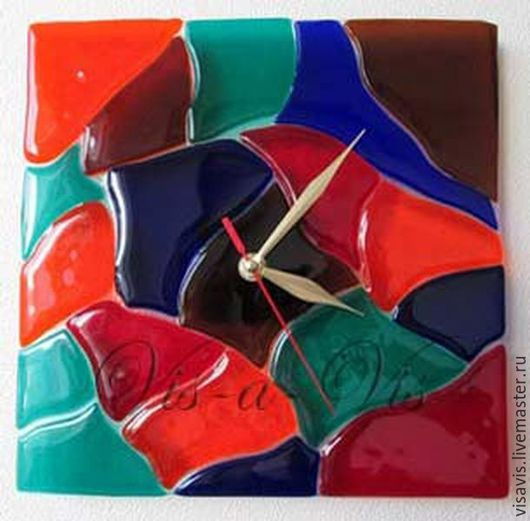 Часы для дома ручной работы. Ярмарка Мастеров - ручная работа. Купить Часы «Карал». Handmade. Разноцветный, часы настенные