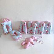 Подушки ручной работы. Ярмарка Мастеров - ручная работа Буквы подушки, игрушка зайка. Handmade.