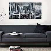 Картины и панно ручной работы. Ярмарка Мастеров - ручная работа ночной город 120х60 см. Handmade.