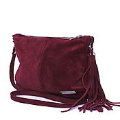 Сумки и аксессуары handmade. Livemaster - original item Crossbody Bag Suede Burgundy Clutch with Shoulder Strap. Handmade.
