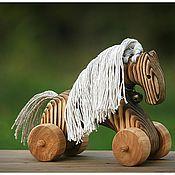 Куклы и игрушки ручной работы. Ярмарка Мастеров - ручная работа Деревянная лошадка-игрушка на колёсиках. Handmade.