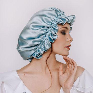 Accessories handmade. Livemaster - original item Sleep cap made of natural silk blue. Handmade.