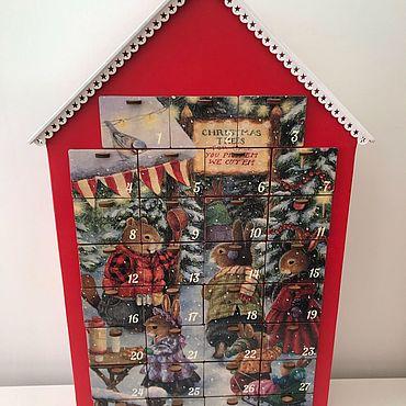Сувениры и подарки ручной работы. Ярмарка Мастеров - ручная работа Красный Адвент календарь - Зайки на ярмарке. Handmade.