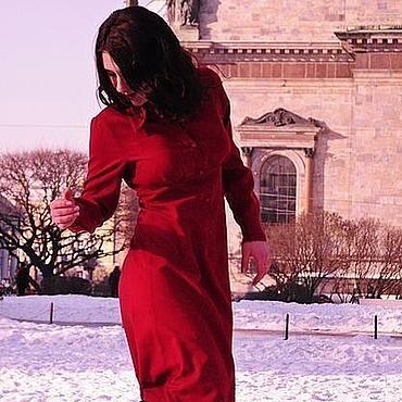 Одежда ручной работы. Ярмарка Мастеров - ручная работа Красное платье-рубашка. Handmade.
