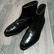Обувь ручной работы handmade. Livemaster - original item Zippered boots made of genuine crocodile leather, with fur!. Handmade.