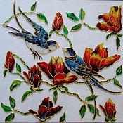 Картины и панно ручной работы. Ярмарка Мастеров - ручная работа Картина на стекле Весенний сад. Handmade.