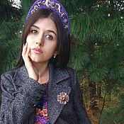 Украшения handmade. Livemaster - original item Headbands: Lilac headdress is embroidered with beads and sequins. Handmade.