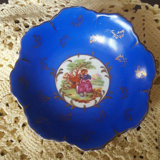 Винтажная посуда. Ярмарка Мастеров - ручная работа. Купить Фарфоровая вазочка-пиала.. Handmade. Тёмно-синий, фарфор