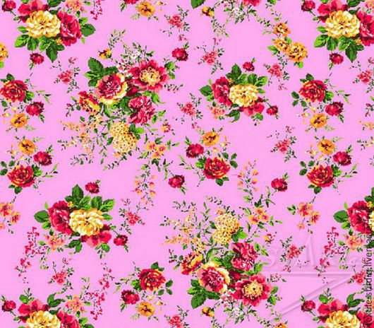 Шитье ручной работы. Ярмарка Мастеров - ручная работа. Купить Вафельное полотно Цветы на розовом 150 см. Handmade. Розовый