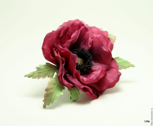 Цветы ручной работы. Ярмарка Мастеров - ручная работа. Купить Цветы из шелка. Брошь цветком Мака. Handmade. Бордовый, flowers