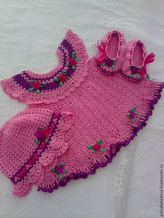 нарядный комплект, летний комплект ,для девочки, для малышки, одежда для девочек, платье, нарядное,летнее платье, летний сарафан, крючком, ажурное платье, летний сарафан, детское платье