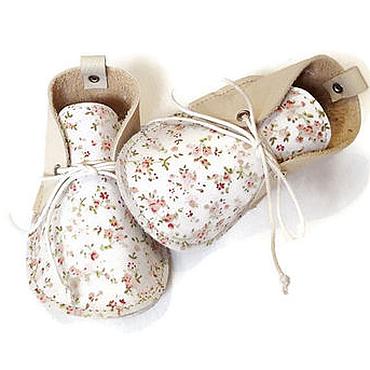 Обувь ручной работы. Ярмарка Мастеров - ручная работа Ботиночки из кожи и ткани. Handmade.
