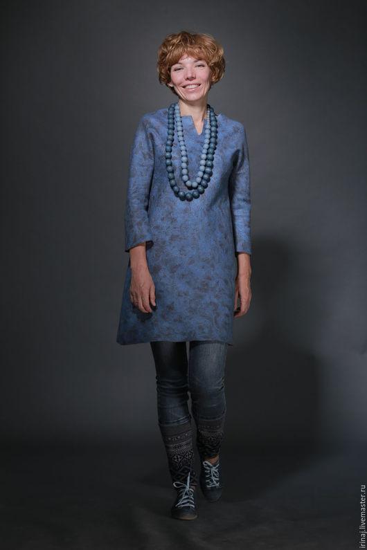 """Платья ручной работы. Ярмарка Мастеров - ручная работа. Купить валяное платье-туника  """"Gray&Pink"""". Handmade. Серый, бохо-стиль"""