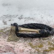 Украшения handmade. Livemaster - original item Leather bracelet - Axe. Handmade.