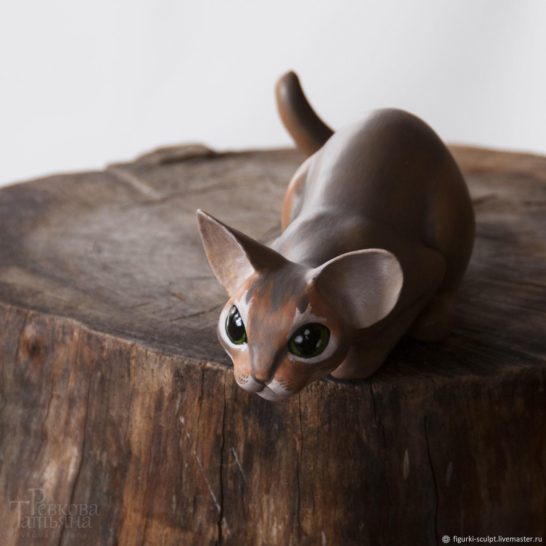 CAT - young hunter, handmade figurine, Figurines, Moscow,  Фото №1