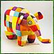 слон Элмер игрушка войлочная (игрушка из войлока, игрушка валяная)