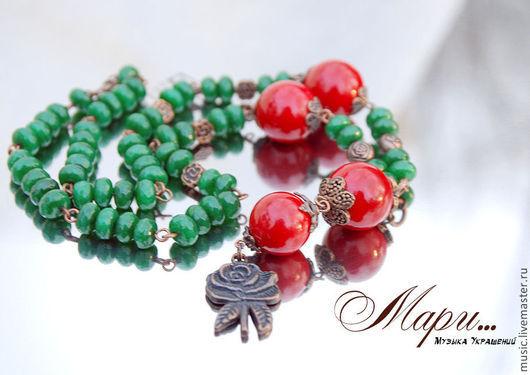 Колье, бусы ручной работы. Ярмарка Мастеров - ручная работа. Купить Мари: зеленые бусы  ручной работы из натуральных камней. Handmade.