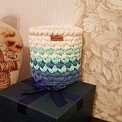 Корзины ручной работы. Ярмарка Мастеров - ручная работа Корзина из трикотажной пряжи. Handmade.