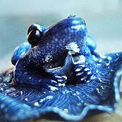 """Украшения handmade. Livemaster - original item """"Синяя Китовая лягушка"""", мини-брошь с гематитовой звёздочкой. Handmade."""