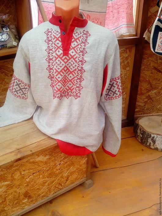 Одежда ручной работы. Ярмарка Мастеров - ручная работа. Купить рубаха мужская с вышивкой обережной. Handmade. Мужская рубаха