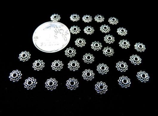 """Для украшений ручной работы. Ярмарка Мастеров - ручная работа. Купить Шапочки для бусин, 50 штук, цвет """"серебро"""". Handmade."""