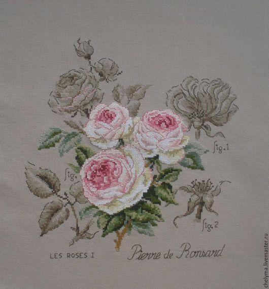 Картины цветов ручной работы. Ярмарка Мастеров - ручная работа. Купить вышивка роза Pierre de Ronsard,цветочная серия etude botanique из фран. Handmade.