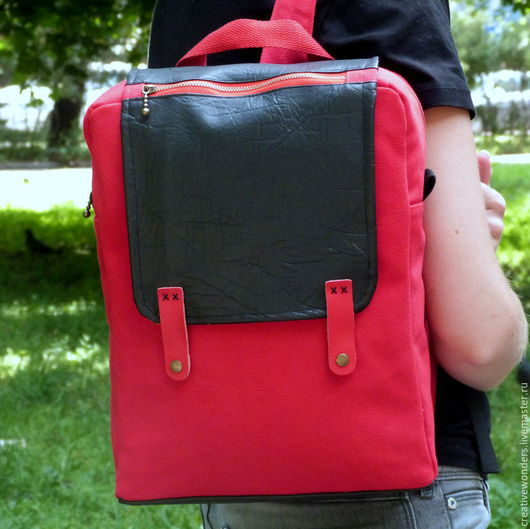 """Рюкзаки ручной работы. Ярмарка Мастеров - ручная работа. Купить Рюкзак """"Дерзкий красный"""". Handmade. Ярко-красный, молния металлическая"""