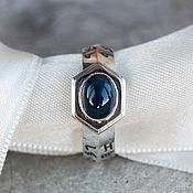 Украшения handmade. Livemaster - original item Silver ring with runes and sapphire