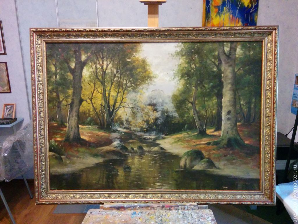 The painting of the early 20th century, x/m, no top coat, 100х80, isn't written yet, in the style of Yu Clover, taken in the frame by the customer, since the damage at first seemed to him not very not