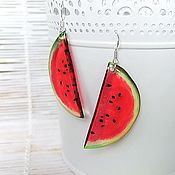 Украшения handmade. Livemaster - original item Transparent Earrings Resin Earrings Earrings Watermelon Fruit Red Green. Handmade.