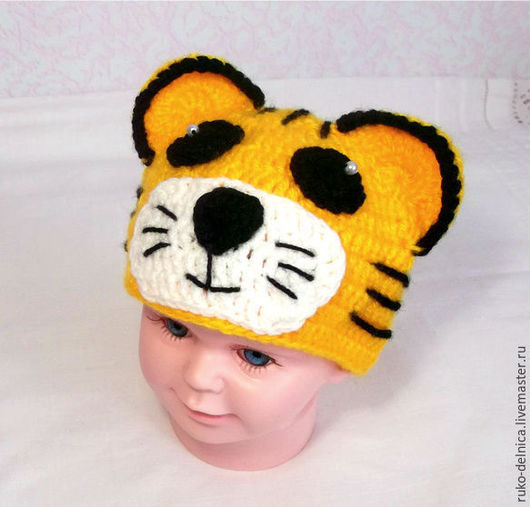 """Для новорожденных, ручной работы. Ярмарка Мастеров - ручная работа. Купить Шапочка для фотосессии новорожденных """"Тигр"""" (детская шапка тигра). Handmade."""