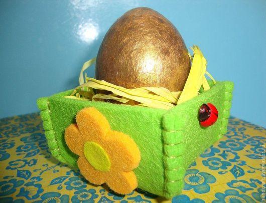 Яйца ручной работы. Ярмарка Мастеров - ручная работа. Купить Пасхальное яйцо в корзиночке. Handmade. Желтый, корзиночка, русский сувенир