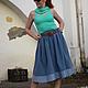Юбки ручной работы. Джинсовая юбка 60-е. Natalia Zorina. Интернет-магазин Ярмарка Мастеров. Юбка летняя