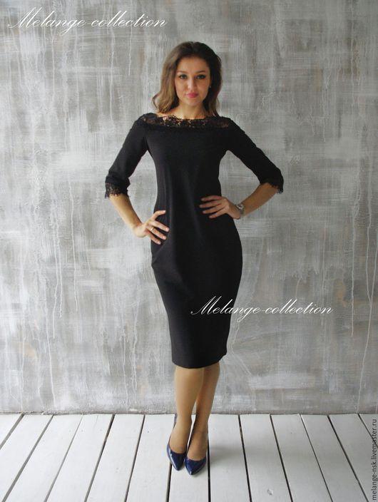Платья ручной работы. Ярмарка Мастеров - ручная работа. Купить СКИДКА!!Элегантное черное платье с французским кружевом. Handmade. Черный