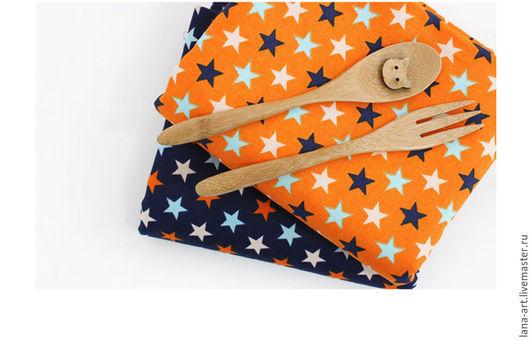 Шитье ручной работы. Ярмарка Мастеров - ручная работа. Купить Корейский хлопок (оксфорд) Звезды Оранжевые. Handmade. Корейский хлопок