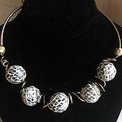 Украшения handmade. Livemaster - original item Wire wrap .  Python. Necklace, bracelet and earrings with leather balls. Handmade.