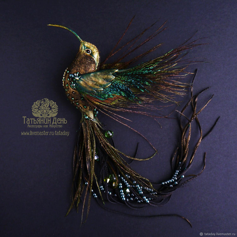 Brooch-Hummingbird ' Dark night', Brooches, St. Petersburg,  Фото №1