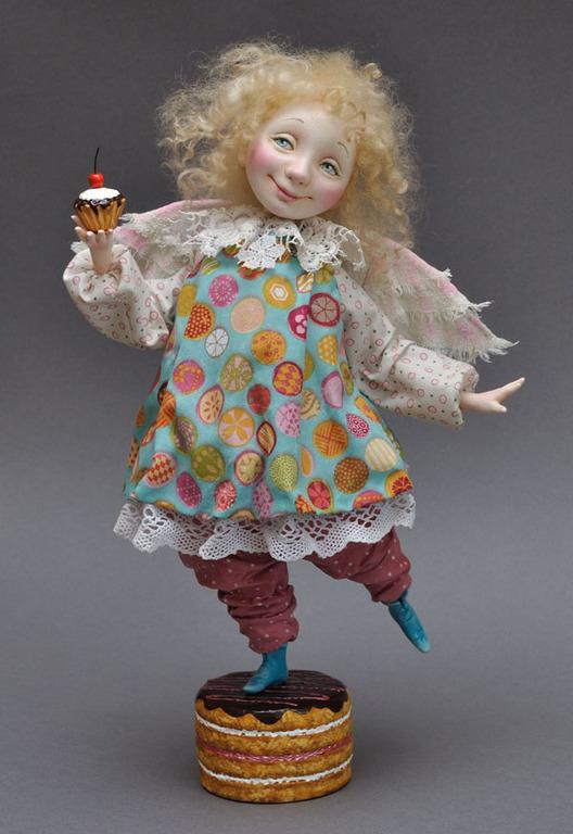 Коллекционные куклы ручной работы. Ярмарка Мастеров - ручная работа. Купить Ангел Сладкоежка авторская кукла из ладолла 35см. Handmade.