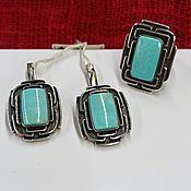 Украшения handmade. Livemaster - original item Silver set of earrings and ring with Armenian blue turquoise. Handmade.