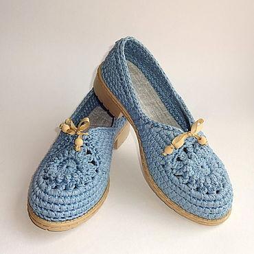 Обувь ручной работы. Ярмарка Мастеров - ручная работа Мокасины вязаные Lady G, голубой хлопок. Handmade.
