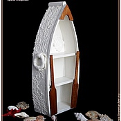 """Для дома и интерьера ручной работы. Ярмарка Мастеров - ручная работа Полка- лодка """"Белое Море"""" декор, объем. Handmade."""