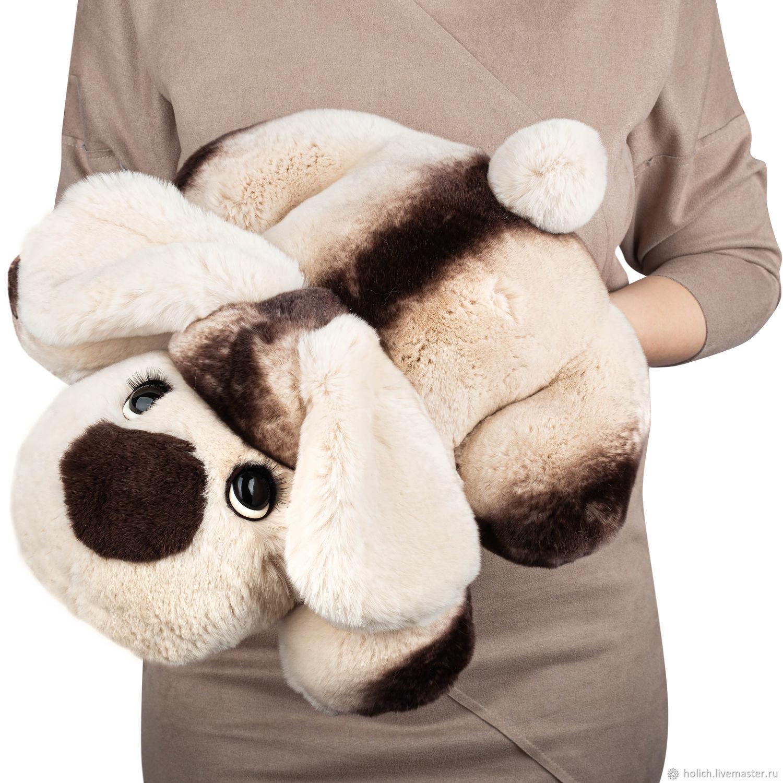 собака из меха кролика Рекс капучино, Мягкие игрушки, Москва,  Фото №1