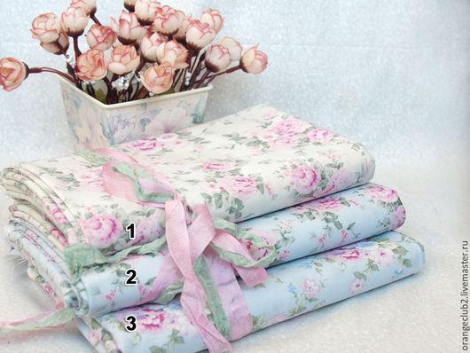 Шитье ручной работы. Ярмарка Мастеров - ручная работа. Купить Корейская ткань Шебби розы. Handmade. Ткань, голубой