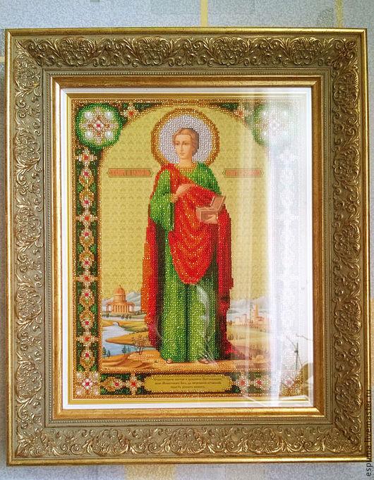 Иконы ручной работы. Ярмарка Мастеров - ручная работа. Купить икона Великомученика и целителя Пантелеймона. Handmade. Тёмно-зелёный, бисер
