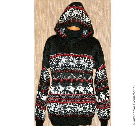 Sweatshirts & Sweaters handmade. Livemaster - handmade. Buy The reindeer sweater, hooded.Black, womens clothing knitted