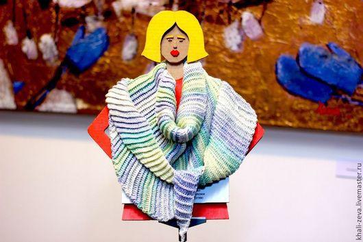Шали, палантины ручной работы. Ярмарка Мастеров - ручная работа. Купить Плотный шарф платок бактус из бамбуковой пряжи нежных пастельных цвето. Handmade.